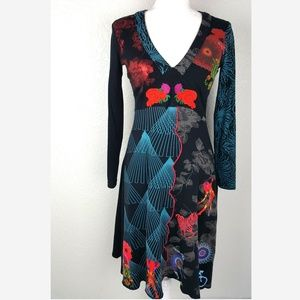 Colorful Embroidered Long Sleeve Desigual Dress